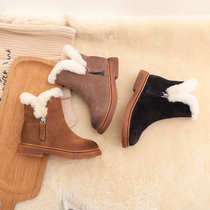 雪地靴羊皮毛一体宝宝男棉鞋冬季防水加绒保暖防滑女童靴子(25 赤土色)