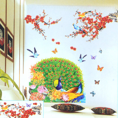 立体贴画墙贴纸 卧室浪漫温馨婚房床头客厅电视墙背景墙壁贴花(孔雀开