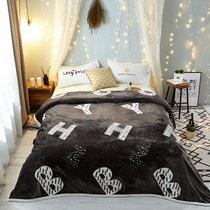 静霞毛毯珊瑚绒云貂绒加厚保暖法兰绒床单人午睡毯子四季毯子(字母组合灰)