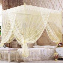 唐蔚床上用品蚊帐三开门落地公主风方形1.8不锈钢加厚管方顶加高家用1.2米单人1.8米2米双人加大(粉色)