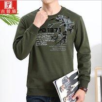 吉普盾 长袖t恤男士加绒加厚圆领宽松保暖套头冬季卫衣3638(军绿色 5XL)