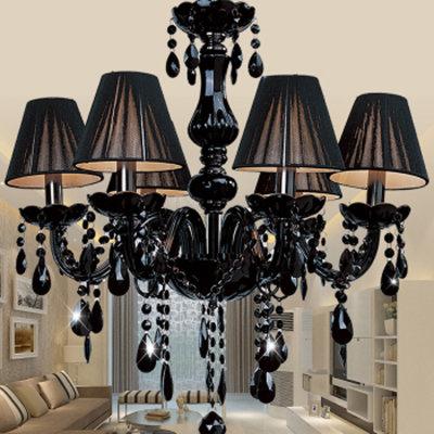 黑色水晶吊灯欧式蜡烛灯现代简约客厅餐厅卧室复古水晶灯具 8008(带