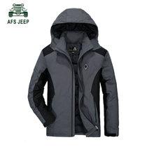冬装新品战地吉普可脱卸帽防风防雨羽绒服外套60602A男士防寒保暖(深灰色 2XL)