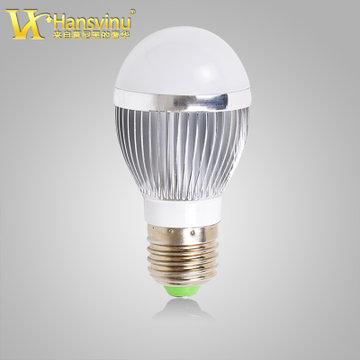 汉斯威诺 led球泡灯3w5w7w9w节能灯泡贴片灯珠高亮e27螺口光(5w 银色