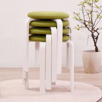 家逸 实木凳子 时尚简约圆凳 餐椅坐凳 弯曲木凳易收纳餐凳(布艺凳面