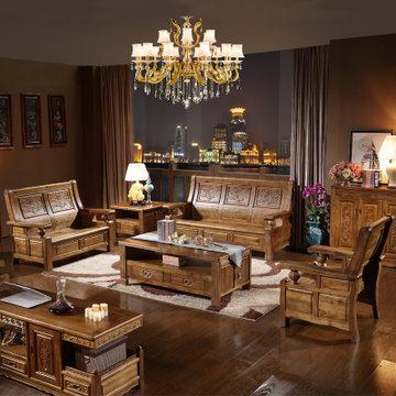 品尚美家 雕花 全实木沙发 香樟木沙发 中式现代客厅沙发组合(茶青色