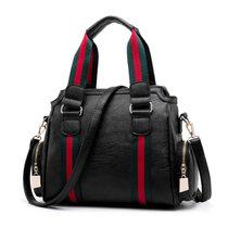 2018新款女包欧美手提包斜挎包包百搭单肩包简约女士大容量包包(黑色)