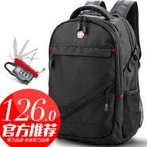 SVVTSSCFAP军刀电脑双肩包15.6/17英寸笔记本书包男女旅行背包(黑色-经典标?#21450;?5.6英寸)