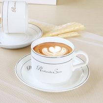金边/银边咖啡杯碟 (单只) 陶瓷杯欧式 送白瓷小勺子(金色)