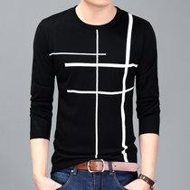 瑰蝴蝶17秋季新款男式针织衫 青年男装长袖羊毛衫(黑色 180)