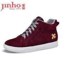 金猴Jinho 时尚系带高帮女单鞋 反绒牛皮圆头耐磨女鞋 Q59099A(酒红色 40)