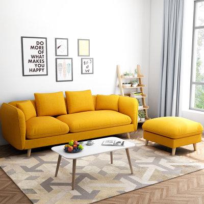 一米色彩 北欧布艺小户型沙发组合(小三人位+脚踏) 1159元包邮