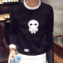 秋装男士套头韩版卫衣青少年修身圆领长袖t恤男学生大白印花体恤 2239(黑色)