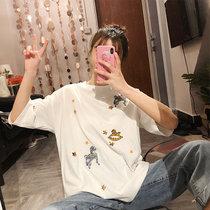 【朵梵语】2019夏季韩版刺绣小马宽松圆领短袖t恤女打底衫上衣(白色 XXL)