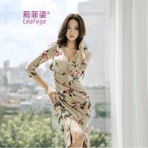 莉菲姿春夏新款韩版女装性感V领七?#20013;?#21360;花包臀显瘦开叉连衣裙(花色)