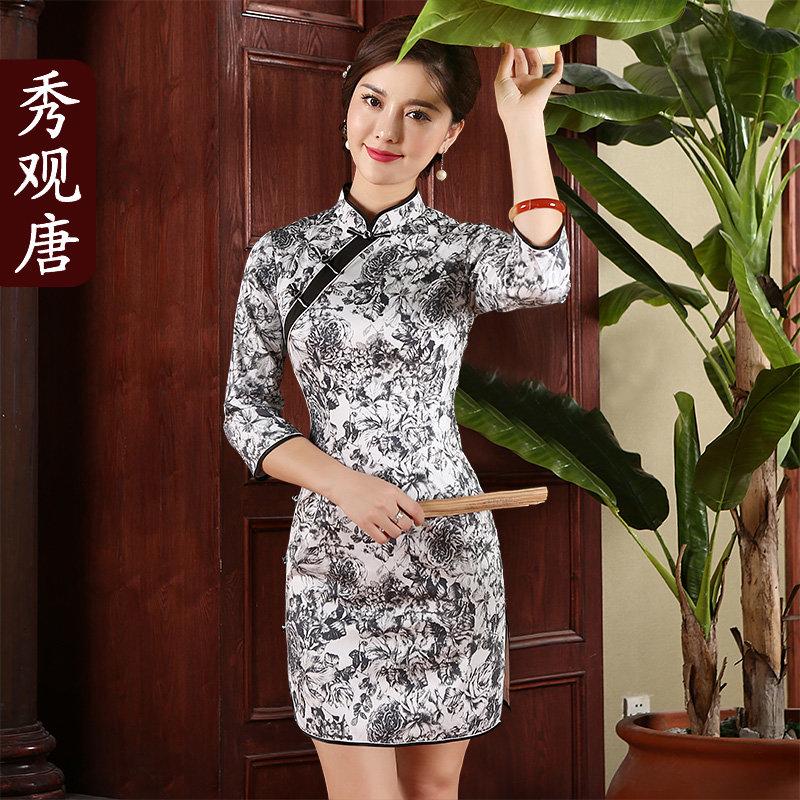 [秀观唐]素锦 2014新款复古旗袍裙时尚改良短款秋冬中长袖(2xl)秀观唐