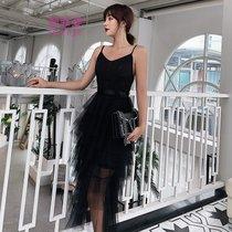 莉菲姿 晚礼服女2019新款性感聚会派对小礼服吊带连衣裙(粉红色)