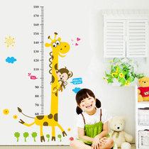 可移除儿童身高贴墙贴画宝宝卧室墙壁贴纸卡通动物宿舍客厅背景墙(长颈鹿身高贴-7178)