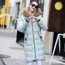 邑概念 羽绒棉服女大衣2017冬季韩版棉衣女中长款修身棉袄外套(浅绿色 XL)