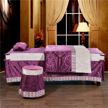 欧式雪尼尔美容院按摩院专用spa床罩方圆头(浮雕紫色 定做咨询客服)