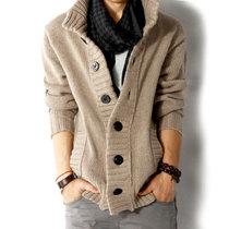 男士毛衣韩版针织衫 立领开衫 秋装外套 男士粗线衣 w1327  (卡其)