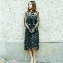 莉菲姿 新款半高领透视网纱刺绣花朵喇叭袖连衣裙吊带两件套(黑色 XL)