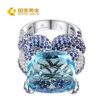 国美黄金 18K金海蓝宝石戒指 豪华镶嵌(14#)