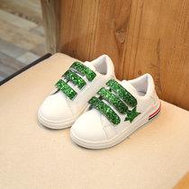 童伊诺 TONGYINUO 2017春季新款儿童小白鞋女童运动鞋 韩版亮片学生板鞋 女孩休闲鞋(绿色 30码内长约18cm)