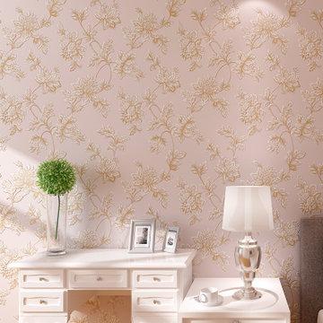 睐可墙纸 环保透气无纺布 3d立体雕刻欧式田园壁纸 背景满铺(裸粉色