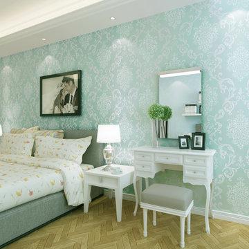 壁纸 环保欧式无纺布墙纸卧室客厅电视背景墙纸 千叶皇后(066蓝绿色)