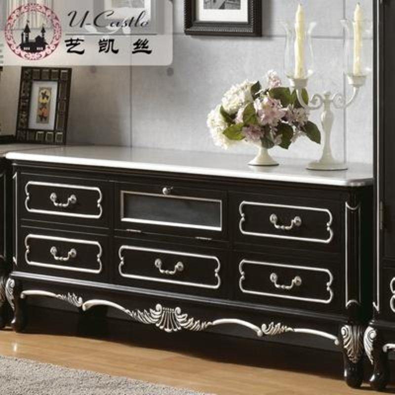 艺凯丝 欧式古典家具 纯实木电视柜 客厅黑色经典 落地储物电视柜