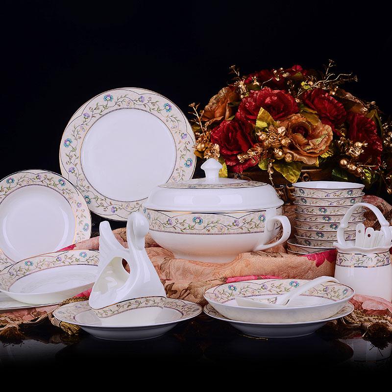 景德镇 欧式 骨瓷餐具 陶瓷韩式碗盘碟套装58头(58头依恋花园)