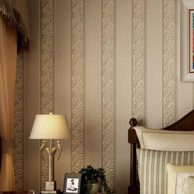 欧式简约时尚复古壁纸 无纺布立体植绒墙纸 客厅卧室书房餐厅过道大堂