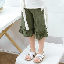 女童裤子2019夏季新款童装棉麻儿童裤子韩版荷叶边七分裤童裤(130 浅绿)