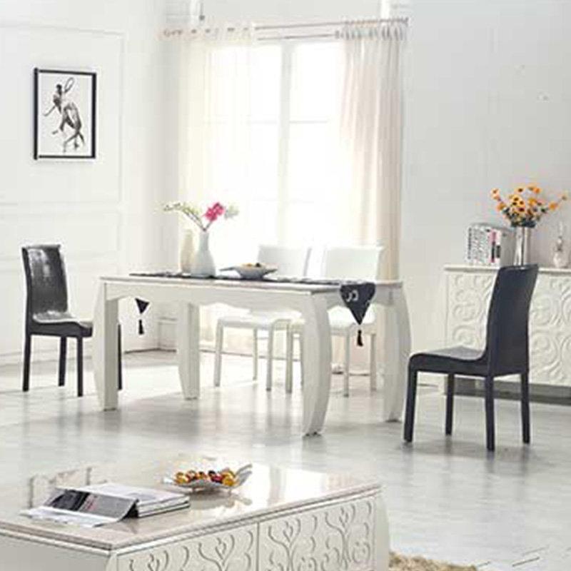 顾家邻居 大理石茶几电视柜组合 欧式白色烤漆雕花茶几(一桌4椅)