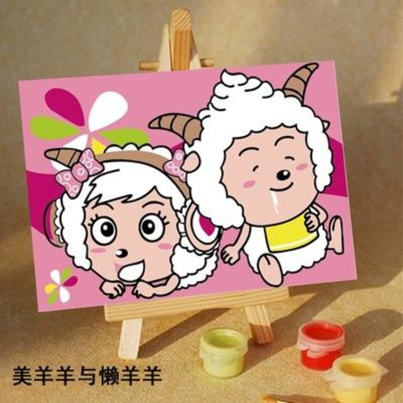 华庭丽娜diy数字油画 美羊羊与懒洋洋 10x15cm简单容易画迷你小油画无