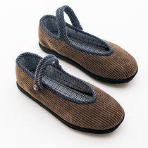 女士纯手工千层底布鞋中国风女布鞋手工纳底布鞋时尚国风透气舒适(咖啡色)