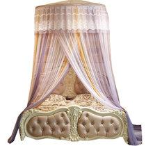 英爵新款渐变色吊顶蚊帐 蕾丝网纱加密加厚加长拖地米兰之约(烟灰 1.5米直径)