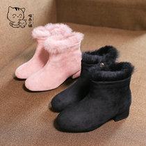 2018冬季新款女童羊京绒靴子兔毛套筒靴小高跟加棉短靴儿童时装鞋保暖加厚棉鞋棉靴(37 粉色)