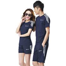 艾酷狼 夏季运动套装夏情侣装 短袖套装 运动服女男?#30007;?#38386;服(深蓝色 男2XL)