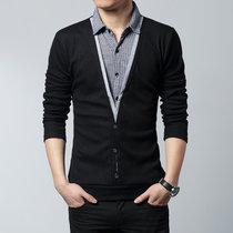 花花公子贵宾冬装上衣男士长袖T恤修身打底衫男假两件加大码男体恤衬衫领加绒J5237(J5237-常规-黑色 5XL)