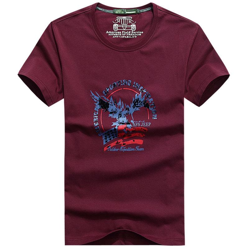 战地吉普 AFS JEEP 短袖 t恤 男 直筒圆领t恤 2015春夏装新款(66841红色 XXXL)商品大图