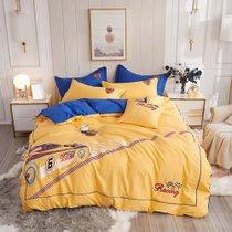 远梦床上四件套纯棉卡通立体绣花四件套疯狂赛车 黄 纯棉材质 柔软舒适