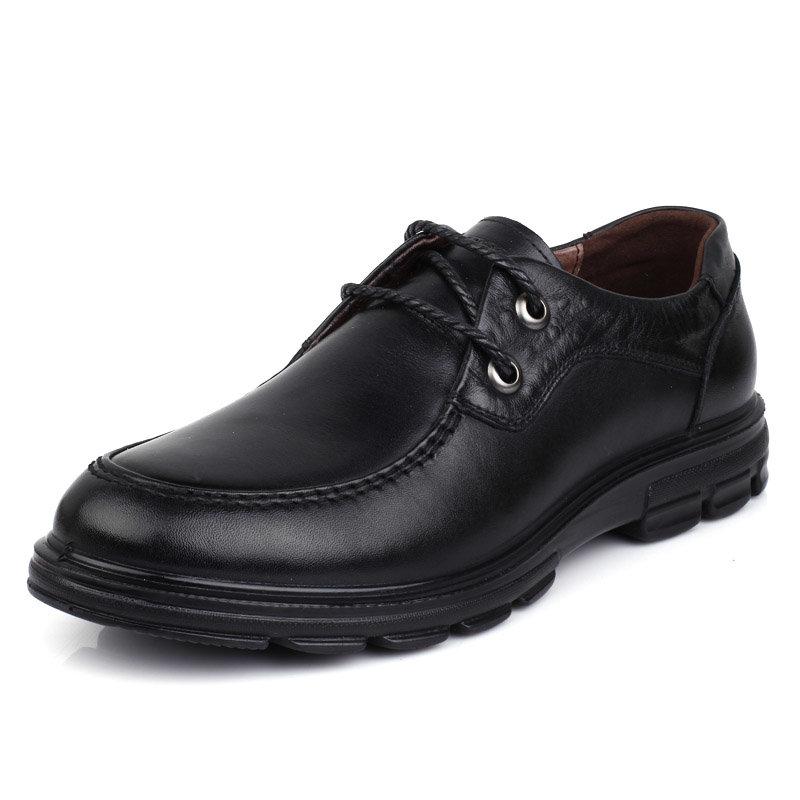 意尔康男鞋韩版时尚系带商务休闲舒适轻便男士单鞋真皮皮鞋男91824(黑色 91824-10 44)商品大图