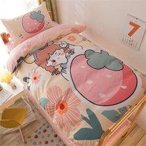 觉先生学生宿舍单人床上用品四件套草莓女孩-黄1.2-1.5米床单款四件套 水洗面料 柔软舒适