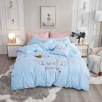 远梦床上四件套纯棉卡通立体绣花四件套萌萌兔 蓝 纯棉材质 柔软舒适