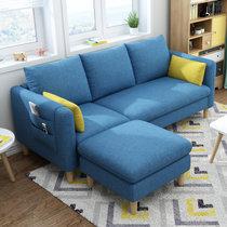 进畅家具 沙发 小户型三人经济型客厅出租房转角整装可拆洗北欧简约布艺沙发(钻石蓝 单人位(海绵款))
