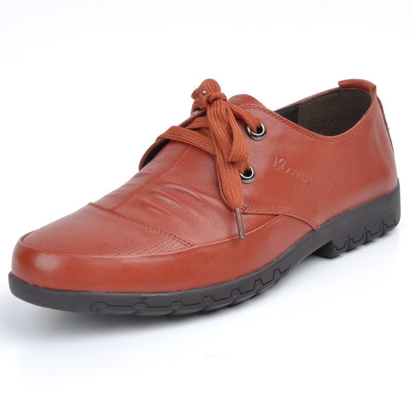 意尔康春秋款男系带低帮单鞋舒适百搭真皮皮鞋韩版商务休闲潮61342(橙红 61342 43)商品大图