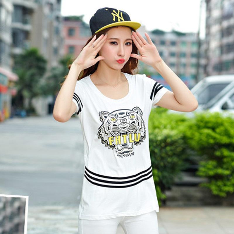 2015夏装新款运动套装女虎头运动装女休闲套装女短袖运动服211YMJ(白色 XL)商品大图