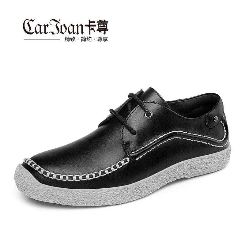 卡尊商务休闲鞋手工休闲皮鞋英伦时尚男鞋HBY1520(黑色 43)商品大图